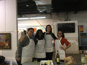 Four women in aprons